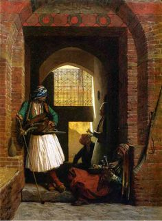 Arnauts of Cairo at the Beb en-Nasr, by artist Jean-Leon Gerome. hand-painted museum quality oil painting reproduction on canvas. Norman Rockwell, Jean Leon, Academic Art, Andrew Wyeth, Historical Art, Oil Painting Reproductions, Manet, A4 Poster, Vintage Artwork