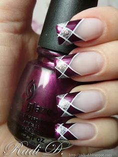 China Glaze Stella purple and silver plaid nail tips
