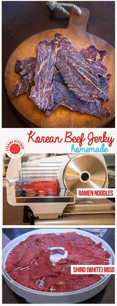 Homemade Korean-style Beef Jerky Recipe – say no to the chemicals used in beef jerky! Making your own is easy. Korean Beef Jerky Recipe, Homemade Beef Jerky, Homemade Ramen, Jerky Recipes, Beef Recipes, Real Food Recipes, Cooking Recipes, Dehydrator Recipes Jerky, Food Dehydrator