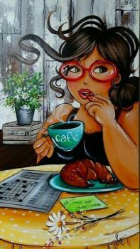 This is my kinda pic. With cafe y un croissant, Dale pa' encima! Black Women Art, Black Art, Princesa Pin Up, Images D'art, Plus Size Art, Fat Art, Woman Illustration, Isabelle, Up Girl