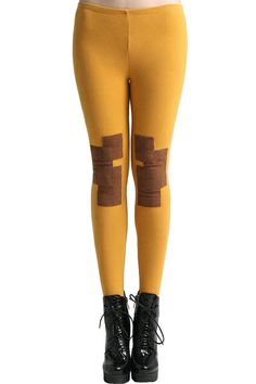 High Waist Yellow Leggings. Description Yellow Leggings,featuring elastic high waist,with patch montage on the upper knees,slim fit,easy to match clothes,a stretchy length and soft touch. Fabric Terylene,Cotton and Spendex Washing 40 degree machine wash,low iron. #Romwe
