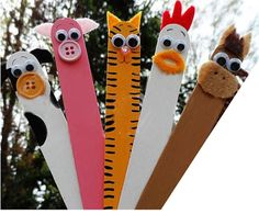 Get some popsicle sticks as the body of animals, colorful buttons as the animal's mouth, fabric as hair to create piglet, rooster, cat, etc....