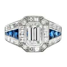 1stdibs - Emerald Cut Diamond Sapphire Mixed Cut Engagement Ring explore items from 1,700  global dealers at 1stdibs.com