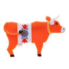 Erstwilder Brooch from Australia - Ampersand floral cow (daisy the kissing cow)