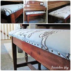 Batchelors Way: Nana's Day - Piano Bench Recycled Furniture, Furniture Projects, Furniture Makeover, Home Furniture, Funky Furniture, Diy Projects, Painted Pianos, Painted Chairs, Painted Furniture