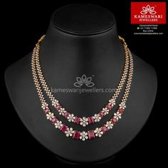 22 Carat gold two step floral necklace studded with rubies and cz stones by Kameswari Jewellers. Ruby Necklace Designs, Diamond Necklace Set, Gold Necklace, Floral Necklace, Indian Diamond Necklace, Diamond Pendant, Simple Necklace, Gold Jewelry Simple, Emerald Jewelry