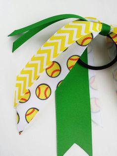 Green and yellow custom softball streamers by BurstingCocoonStudio