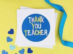 Teacher Thank You Card Card for Teacher Bright fun Teacher   Etsy Teacher Thank You Cards, Handmade Thank You Cards, Greeting Cards Handmade, Handmade Gifts, Funky Fonts, Hand Logo, Wedding Anniversary Cards, Memory Books, Best Teacher