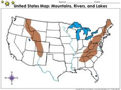United States Map Mountains Rivers And Lakes Locate Places On - Us map with mountains