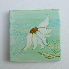 Hand Painted Ceramic Tile Coaster, Daisy £4.00