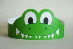 Gator Paper Crown Printable by PutACrownOnIt on Etsy, Crown Crafts, Headband Crafts, Hat Crafts, Crown Printable, Printable Crafts, Crocodile Craft, Diy For Kids, Crafts For Kids, Crown For Kids