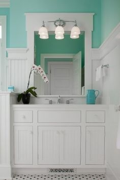 mint green white bathroom. perfect for boys bathroom with it still be a hint of girly