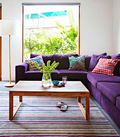 Colourful corner, love the colour in the room especially the purple couch!