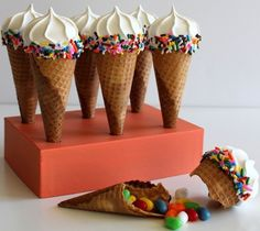 DIY Piñata Cone  Whether you're gearing up for a Cinco de Mayo celebration, or simply looking for some unique treats to share at your next kid-friendly get together, these scrumptious cones with a candy-center surprise are sure to be a big hit!