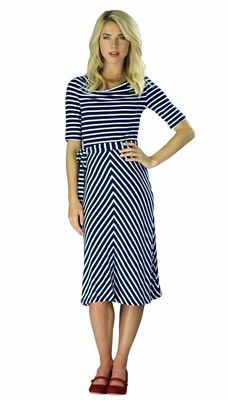 "This would look great paired with a bright cardigan! Love the mix of horizontal and chevron stripes!  ""Molly"" Modest Dress in Navy Stripes"