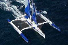 Loick Peyron's ride in the solo Route du Rhum 2014, the 105ft Banque Populaire. Imagine racing that monster solo across the Atlantic! https://www.facebook.com/VoileBanquePopulaire/photos/np.133834170.100000097114459/847256565318824/?type=1