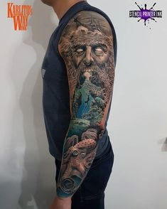 """Karlito.ink on Instagram: """"3 session 😎 Done with 👉@stencilprinterink 👈💪 @bishoprotary #ink #inked #inkart #inkartist #tatts #tattoo #tattooinspiration #tattoos…"""" Poseidon Tattoo, Sea Tattoo, Ink Art, Tattoo Inspiration, Sleeve Tattoos, Stencils, Warsaw, Things To Sell"""