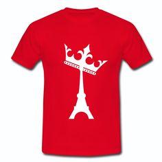 Tee Shirt Rouge France Île-de-France Design Tour Eiffel la reine des reines