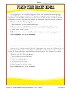 high school main idea reading passage worksheet classroom materials pinterest students. Black Bedroom Furniture Sets. Home Design Ideas