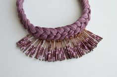 Lilac pink purple chic boho gift Necklace by civcakli on Etsy