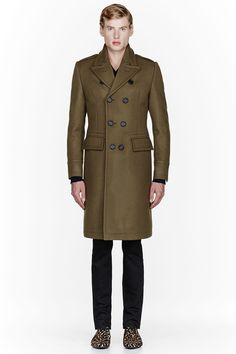 BURBERRY PRORSUM Olive Green Wool Look 19 Peacoat