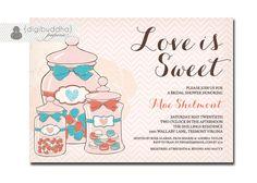 Love Is Sweet Bridal Shower Invitation Pink Coral Aqua Rustic Candy Jars Bloom Calligraphy Chevron Printable Digital or Printed - Mae Style