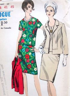 1960s Classic Slim 2 Pc Dress and Jacket Vogue 6984 Open Jacket, Semi Fitted Overblouse and Slim Skirt Bust 41 Vintage Sewing Pattern FACTORY FOLDED