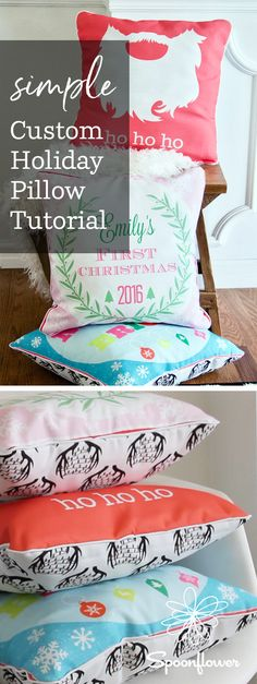 Sweet and Simple Holiday Zipper Pillow Tutorial - Today our friend Emma Jeffery stops by to share a video tutorial taking you through the steps of how to createyour own customized pillow design in Picmonkey to print onto fabric. Whether you're making a thoughtful gift for a loved one or just trying to step up the festive decor in your own home, this tutorial is sure to teach you a thing or two! #holidaydiy #diygift #handmadegift #diyholiday