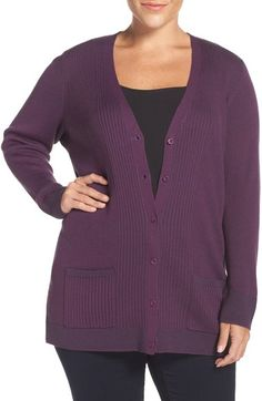 Sejour Ribbed V-Neck Cardigan (Plus Size & Petite Plus) available at #Nordstrom