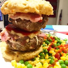 There have been some very special moments on my Slimming World journey…that first weigh in, getting my club ten, reaching three stone, finding out that I can eat pizza again…and now I've got another one to add to the list! This double stacked burger was a triumph, and the hash brown burger bun was even more so. I'm going to let the recipe speak for itself and just let you enjoy it… Serves 2Syn Free Double Stacked Stuffed Cheese & Bacon Burgers in a Hash Brown BunDouble stacked tower of he...