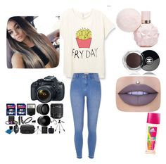 """""""Shooting a YouTube video"""" by lildae on Polyvore featuring River Island, Chanel, Jeffree Star, adidas and Eos"""