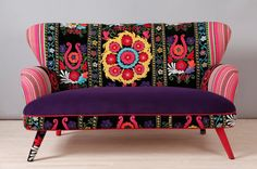 Suzani 2 seater sofa - purple sun on Etsy, $2,601.70
