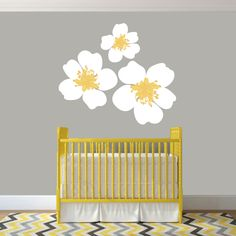 Hibiscus Flower Outline Wall Decals Wall Stickers Shape - Yellow flower wall decals