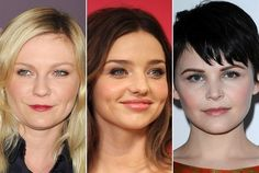 The Round Face Shape  Round faces have curved hairlines and chin lines and a wider width. Celebs Kirsten Dunst, Miranda Kerr and Ginnifer Goodwin all have round face shapes.