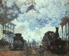 Gare St.-Lazare, 1877 by Claude Monet. Impressionism. genre painting. Fogg Museum (Harvard Art Museums), Cambridge, MA, US