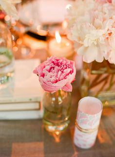 pink peonies + candles + books