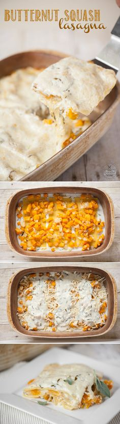 Creamy Butternut Squash Lasagna, with a white Béchamel sauce, is a delicious fall dinner as well as a perfect vegetarian Thanksgiving main dish.