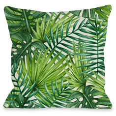 Palm Leaf Throw Pillow Reviews ❤ liked on Polyvore featuring home, bed & bath and bedding