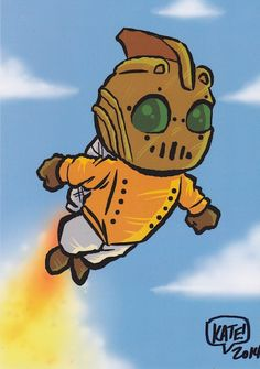 """Rocketeer"" by Kate Carleton, signed 5X7 glossy postcard print"