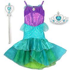 Childs Mermaid Fancy Dress Up Set Tutu Headband Magic Wand Blue Pink Halloween