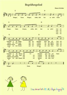 Good morning movement song for kindergarten - Kinderspiele Kindergarten Songs, Kindergarten Portfolio, Preschool Music, Kindergarten Lesson Plans, Welcome Songs, Movement Songs, Finger Plays, Montessori Activities, Music Lessons