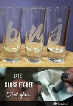 Looking for some inexpensive ways to upgrade your home decor and need an elegant DIY gift idea? Learn how to etch glass and make these creative, personalized shot glasses. The technique can be used on just about any glass or barware, too. DIY glass etching is much easier than you would think, too! I