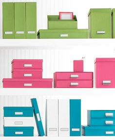 Bright Stockholm Office Storage Boxes from The Container Store.  I'm thinking the pink boxes would look great on my bookshelf and be a neater way of organizing school papers, mail, and other random clutter.