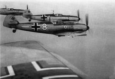 "Link Bf.109E fighter fighter squadron ""Schlageter"" in flight over the channel La Manche"
