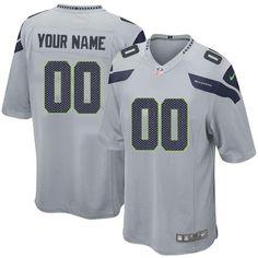 Custom Seahawks Gray Jersey - Nike Limited Stitched Seattle Seahawks Jersey