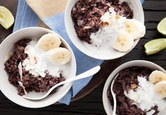 Angela Casley's sweet, sticky black rice pudding recipe with coconut and banana is a taste sensation. If you would rather serve this for breakfast ...