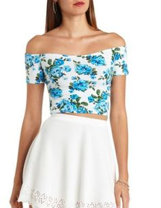 floral print off-the-shoulder crop top