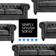 RUTLAND Grey Fabric Plush Velvet Chesterfield Sofas 3 + 2 Seaters + Armchairs · $429.00 Fabric Chesterfield Sofa, Settee Sofa, Velvet Armchair, Upholstered Sofa, Sofa Deals, Italian Sofa, Grey Fabric, Sofa Set, Leather Sofa
