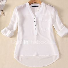 Womens Spring Summer V-neck Chiffon Long Sleeve Casual elegant Shirt Blouse Tops Shirts & Tops, Shirt Blouses, Casual Shirts, Long Shirts, Tee Shirt, Chiffon Shirt, Chiffon Tops, White Chiffon, Sheer Chiffon