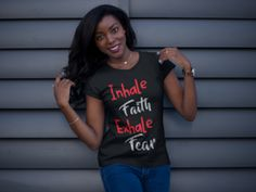 Inhale Faith Exhale Fear Short Sleeve Black Crew Neck Tshirt – Girls Reminded & Inspired Mindset Quotes Positive, Crew Neck, Faith, Inspired, Girls, Sleeves, T Shirt, Black, Tops